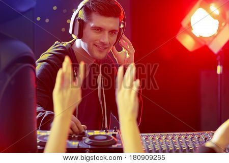 Young Disc Jockey Giving Concert