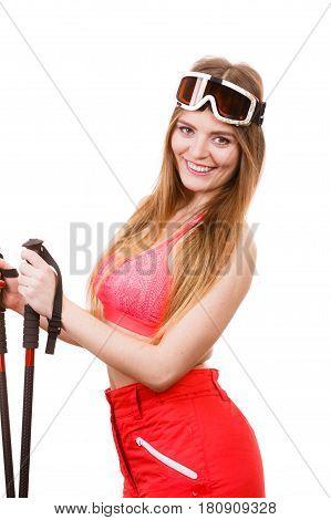 Woman Wearing Ski Suit Holding Poles