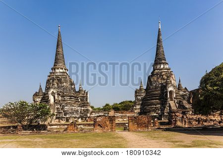 Famous Temple Area Wat Phra Si Sanphet In The Royal Palace In Ajutthaya