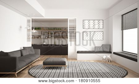 Minimalist living room with sofa big round carpet and kitchen in the background white modern interior design, 3d illustration