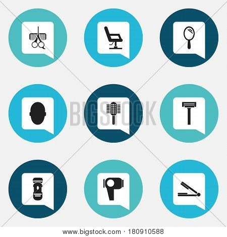Set Of 9 Editable Tonsorial Artist Icons. Includes Symbols Such As Shaver, Charger, Elbow Chair And More. Can Be Used For Web, Mobile, UI And Infographic Design.