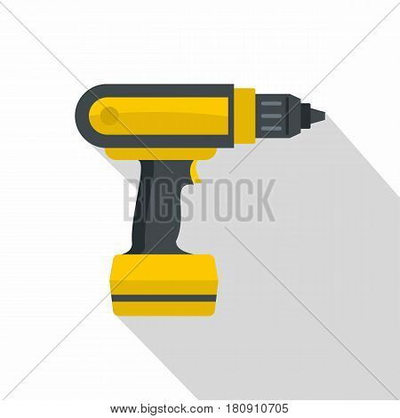 Yellow electric screwdriver drill icon. Flat illustration of yellow electric screwdriver drill vector icon for web