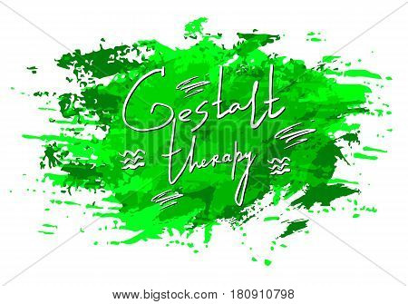 Vector watercolor blot texture. Gestalt Psychology letter. Isolated on white background. Hand painted grunge element. Dirty artistic design Green color