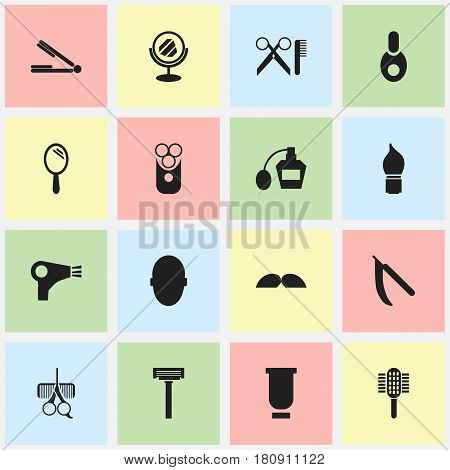 Set Of 16 Editable Hairdresser Icons. Includes Symbols Such As Peeper, Charger, Take The Hair Dryer And More. Can Be Used For Web, Mobile, UI And Infographic Design.