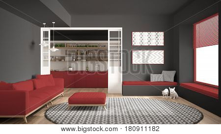 Minimalist living room with sofa big round carpet and kitchen in the background white and red modern interior design, 3d illustration