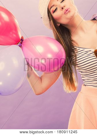 Girl Dancing With Balloons.
