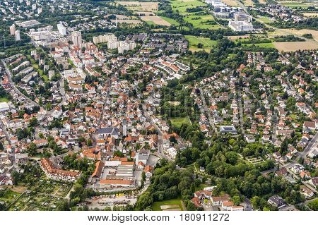 Aerial Of Town Of Schwalbach In Germany