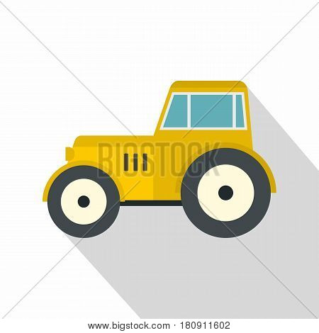 Yellow tractor icon. Flat illustration of yellow tractor vector icon for web
