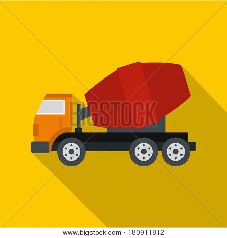 Truck concrete mixer icon. Flat illustration of truck concrete mixer vector icon for web