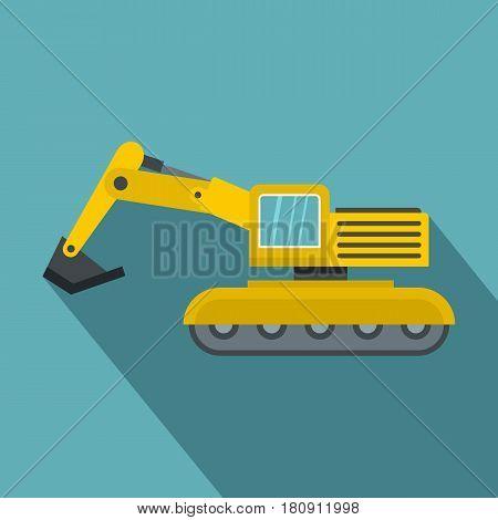 Excavator icon. Flat illustration of excavator vector icon for web