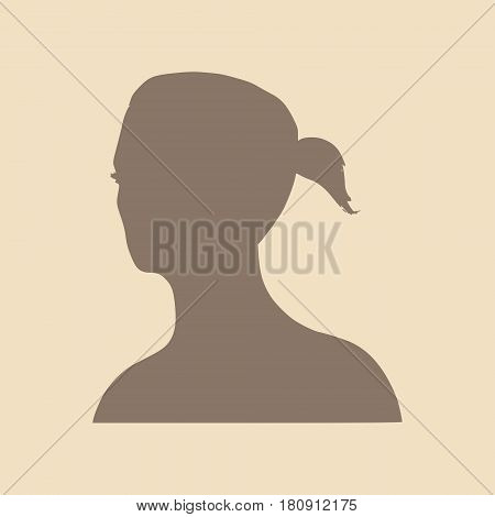 Face half turn view. Elegant silhouette of a female head. Vector Illustration. Ponytails hair style. Monochrome gamma.