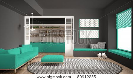 Minimalist living room with sofa big round carpet and kitchen in the background gray and turquoise modern interior design, 3d illustration