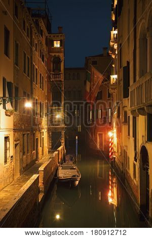 Night view of the canal. Long exposure photo. Venice, Italy