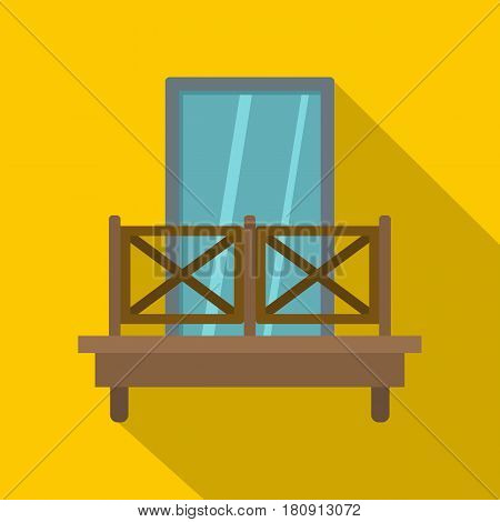 Balcony with wooden fence icon. Flat illustration of balcony with wooden fence vector icon for web