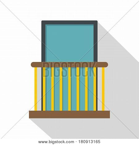 Balcony with yellow fencing icon. Flat illustration of balcony with yellow fencing vector icon for web