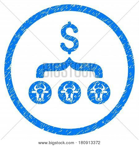 Cows Result Dollar grainy textured icon inside circle for overlay watermark stamps. Flat symbol with scratched texture. Circled vector blue rubber seal stamp with grunge design.