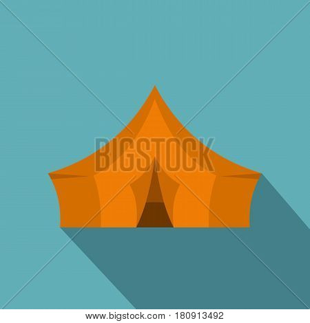 Orange tent for forest camping icon. Flat illustration of orange tent for forest camping vector icon for web