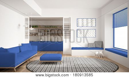 Minimalist living room with sofa big round carpet and kitchen in the background white and blue navy modern interior design, 3d illustration