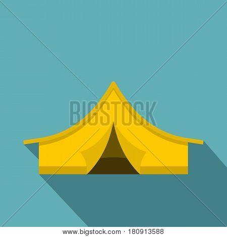 Yellow tourist tent icon. Flat illustration of yellow tourist tent vector icon for web