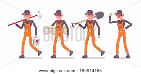 Set of male professional worker wearing orange overall, walking, holding painting roller, shovel, wallpaper rolls, giving commands, specialist building service, full length, isolated, white background