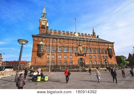 COPENHAGEN DENMARK - JUNE 15: City Hall castle in the Old Town in Copenhagen Denmark in 2012