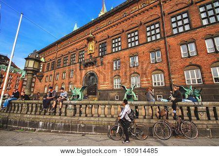 COPENHAGEN DENMARK - JUNE 15: At wall of City Hall castle in the Old Town in Copenhagen Denmark in 2012