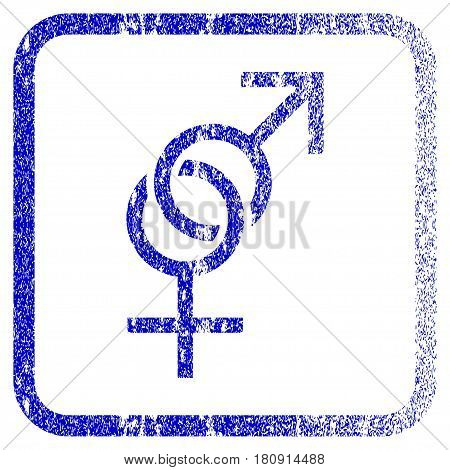 Sex Symbol textured icon for overlay watermark stamps. Blue vectorized texture. Flat vector symbol with unclean design inside rounded square frame. Framed blue rubber seal stamp imitation.