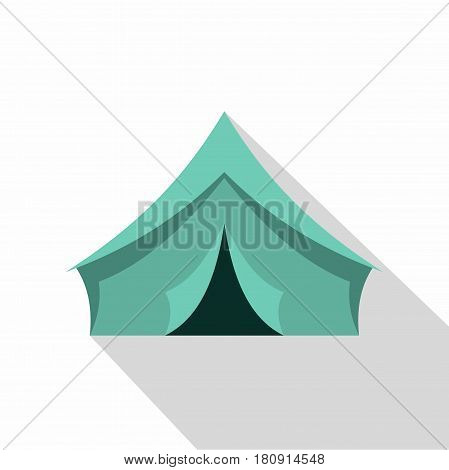 Turquoise tent icon. Flat illustration of turquoise tent vector icon for web