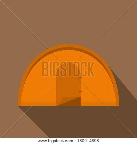 Orange tourist tent icon. Flat illustration of orange tourist tent vector icon for web