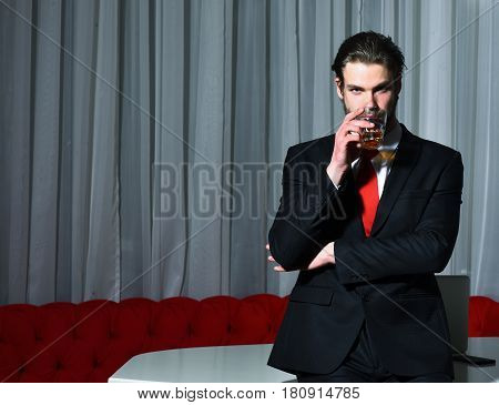 Bearded Man, Businessman With Glass Of Whiskey, Cell Phone