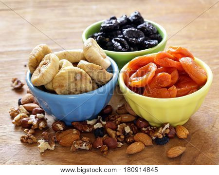 Assorted various dried fruits (dried apricots, prunes, figs)