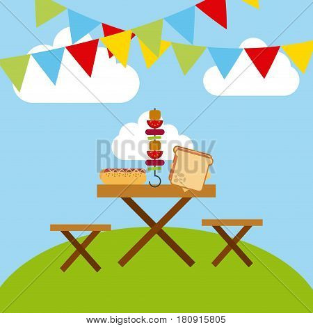 decorative pennants and wooden pinic table with fast food. colorful design. vector illustration