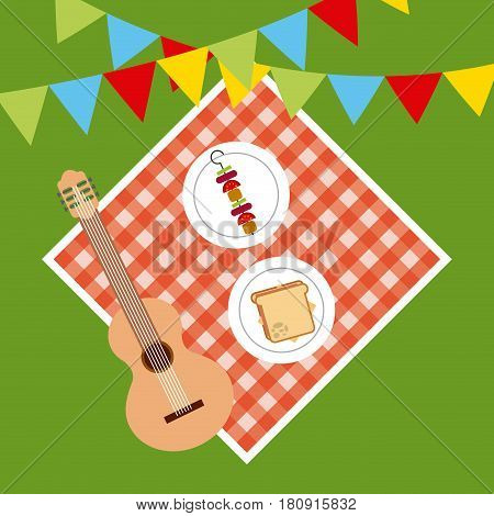 picnic tablecloth with food and guitar over green background. top view. colorful design. vector illustration