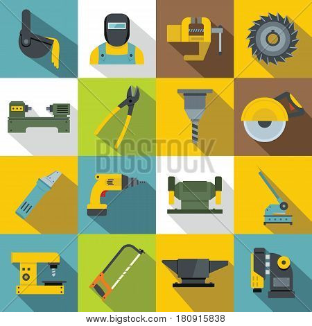 Metal working icons set. Flat illustration of 16 Metal working vector icons for web