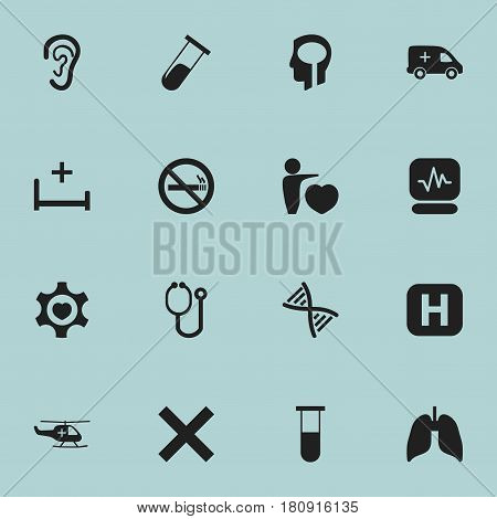 Set Of 16 Editable Clinic Icons. Includes Symbols Such As Analysis Container, Human Love, Pulse And More. Can Be Used For Web, Mobile, UI And Infographic Design.