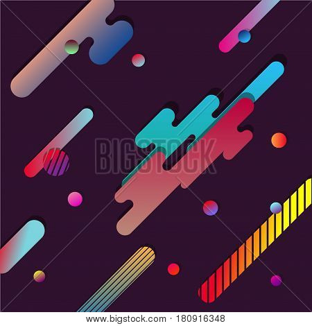 Abstract Dinamic Background with Horizontal Multicolored Geometric Paper Shapes. Modern Design Vector illustration.