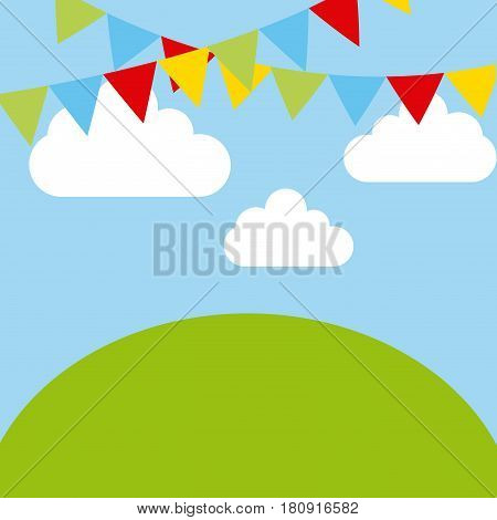 decorative pennants and green mountain over sky background. colorful design. vector illustration