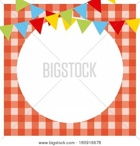 picnic tablecloth with white circle and decorative pennants. colorful design. vector illustration