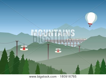 Vector illustration of travel in the mountains tourism nature. Cable car balloon viaduct with train on background of hilly landscape with coniferous misty forest. For adv web template poster.