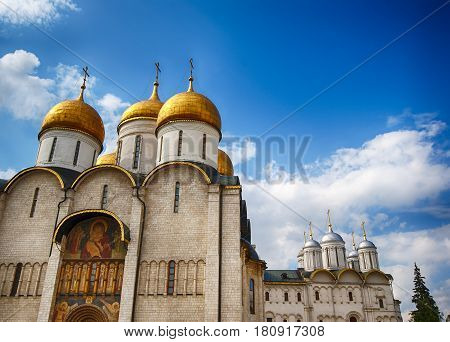 Facade of Uspensky cathedral in Moscow Kremlin ancient orthodox church of Russia