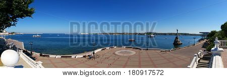 Panorama of the Sevastopol bay on the embankment of Sevastopol Russia