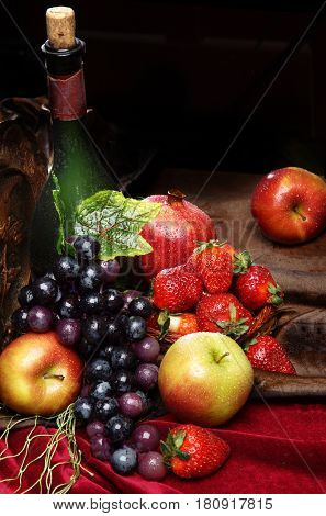 Juicy Bright Fruit, Sprinkled With Water, Still Life Of Seasonal Fruits And Berries, Copyspace, Clas