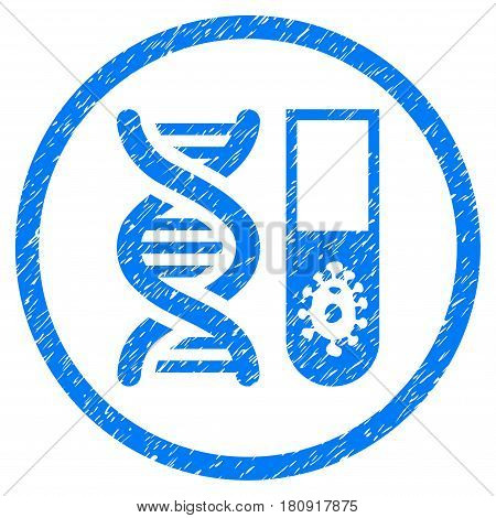 Hitech Microbiology grainy textured icon inside circle for overlay watermark stamps. Flat symbol with dust texture. Circled vector blue rubber seal stamp with grunge design.