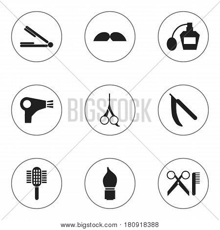 Set Of 9 Editable Barber Icons. Includes Symbols Such As Desiccator, Scrub, Charger And More. Can Be Used For Web, Mobile, UI And Infographic Design.