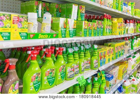 FRANCE, VALLAURIS- MAY 6, 2016: Shelves with household chemicals in supermarket