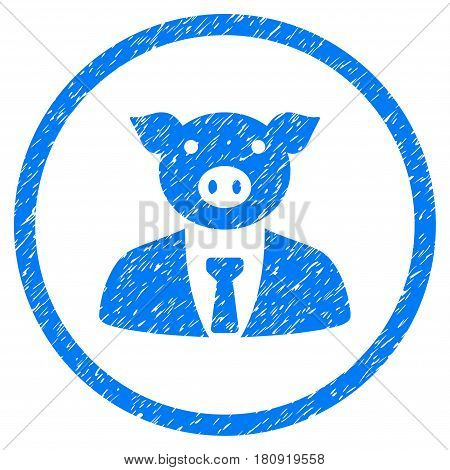 Pig Boss grainy textured icon inside circle for overlay watermark stamps. Flat symbol with unclean texture. Circled vector blue rubber seal stamp with grunge design.