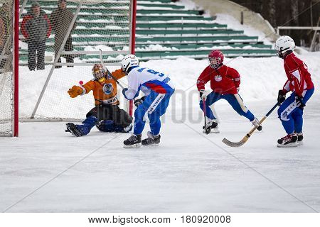 RUSSIA, KOROLEV- FEBRUARY 18, 2017: Bandy tournament in honor of the local famous coaches was held for the first time in Korolev, Russia.