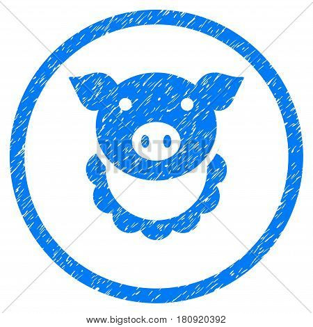 Pig Reward grainy textured icon inside circle for overlay watermark stamps. Flat symbol with dirty texture. Circled vector blue rubber seal stamp with grunge design.