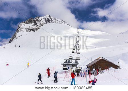RUSSIA, SOCHI, GORKY GOROD - MARCH 29, 2017: Slopes of Gorky Gorod ski resort