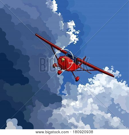 cartoon red little plane flies on the border of a clear sky with a storm cloud